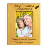 Silver 25th Wedding Anniversary - Engraved Solid Wood Photo Frame - engraving-gallery.com