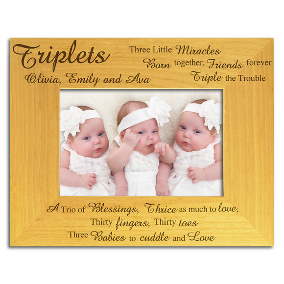 Triplets, Three Little Miracles - Personalised Wood Photo Frame - engraving-gallery.com