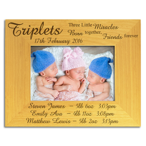 Triplets, Three Little Miracles, Names and Weights - Personalised Wood Photo Frame - engraving-gallery.com