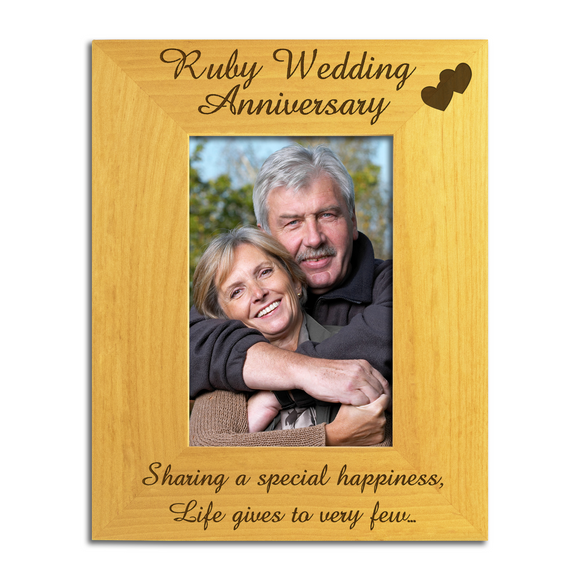 Ruby 40th Wedding Anniversary - Engraved Solid Wood Photo Frame - engraving-gallery.com