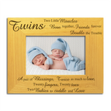 Twins, Two Little Miracles - Engraved Wood Photo Frame - engraving-gallery.com