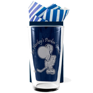 Ice Hockey - Ice Hockey's Puckin' Great! - Engraved Modern Beer Pint Glass - engraving-gallery.com