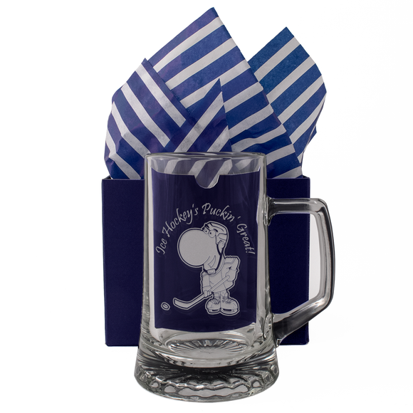 Ice Hockey's Puckin' Great! - Engraved Tankard Beer Pint Glass - engraving-gallery.com