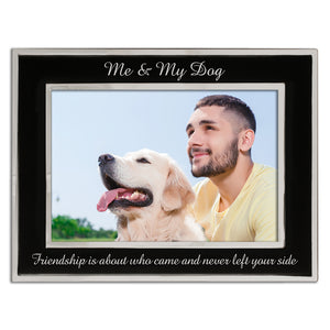 Me and My Dog - Silver Plated, Black and Silver Photo Frame - engraving-gallery.com