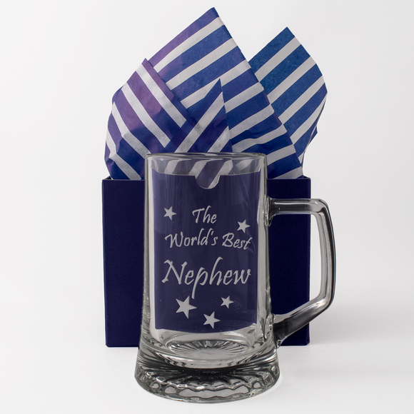 The World's Best Nephew - Engraved Tankard Beer Pint Glass - engraving-gallery.com