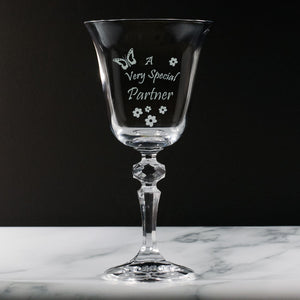 Partner - A Very Special  Partner - Engraved Crystal Wine Glass