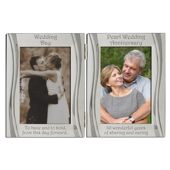 30th Pearl Wedding Anniversary - Double Silver Plated, Matt and Gloss Silver Frame - engraving-gallery.com