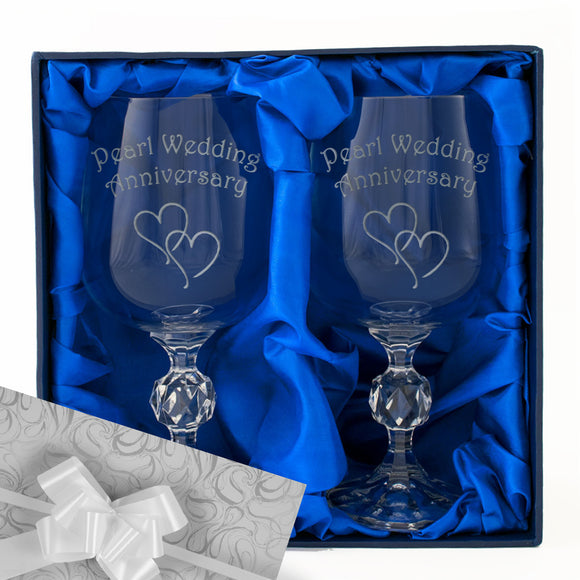30th Pearl Wedding Anniversary - Engraved Pair of Wine Goblets - engraving-gallery.com