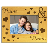 Love Hearts, Personalised Wood Photo Frame - engraving-gallery.com