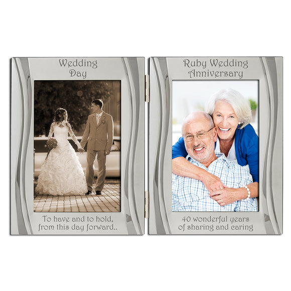 40th Ruby Wedding Anniversary - Double Silver Plated, Matt and Gloss Silver Frame - engraving-gallery.com