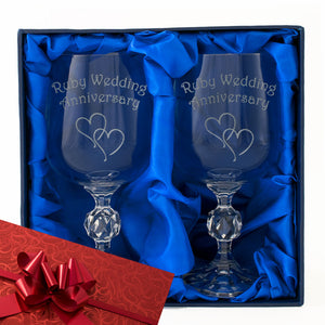 40th Ruby Wedding Anniversary - Engraved Pair of Wine Goblets - engraving-gallery.com