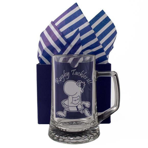 Rugby Tackles it! - Engraved Tankard Beer Pint Glass - engraving-gallery.com