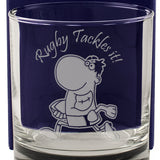 Rugby Tackles It! - Engraved Whisky Tumbler Glass - engraving-gallery.com