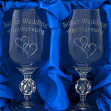 25th Silver Wedding Anniversary - Engraved Pair of Wine Goblets - engraving-gallery.com