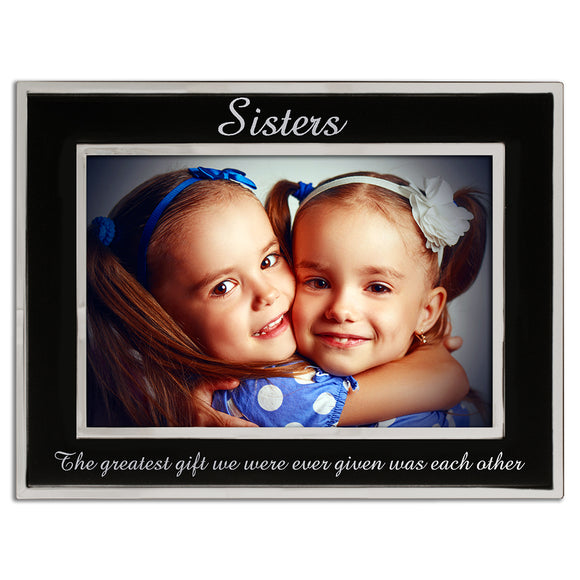 Sisters - Silver Plated, Black and Silver Photo Frame - engraving-gallery.com