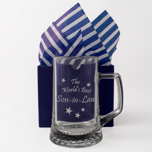 The World's Best Son-in-Law - Engraved Tankard Beer Pint Glass - engraving-gallery.com