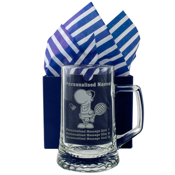 Badminton - Personalised Engraved Beer Pint Glass Tankard
