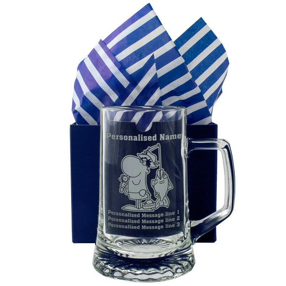 Fishing - Personalised Engraved Beer Pint Glass Tankard