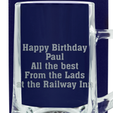 Personalised Beer Glass Tankard - Add Your own Message for Any Occasion - engraving-gallery.com