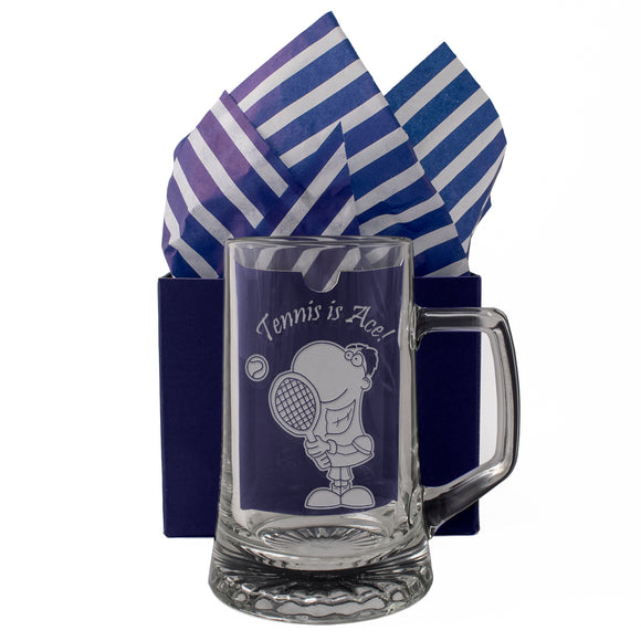 Tennis is Ace - Engraved Tankard Beer Pint Glass - engraving-gallery.com