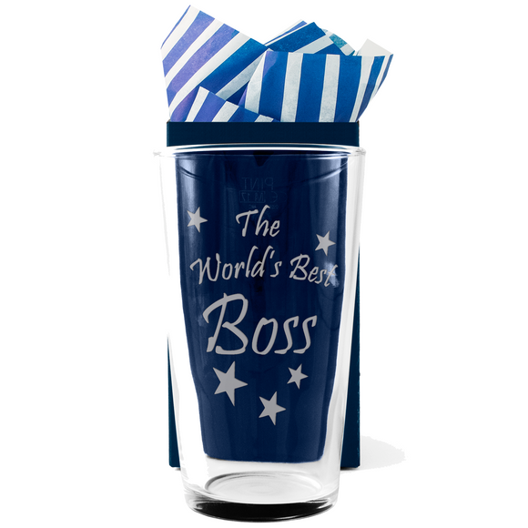 Boss - The World's Best Boss - Engraved Beer Pint Glass - engraving-gallery.com