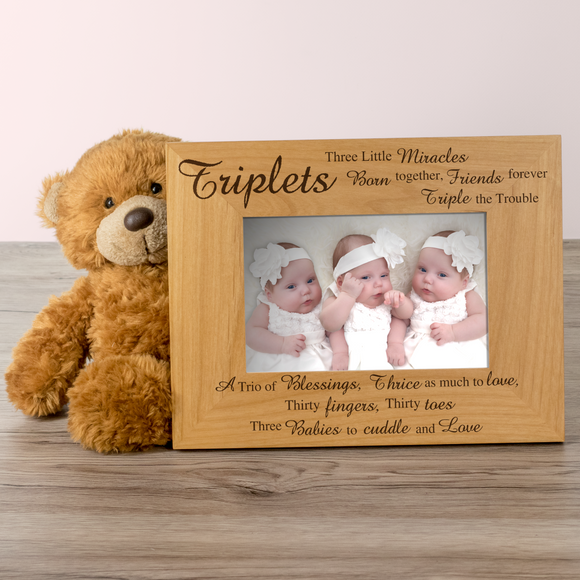 Triplets, Three Little Miracles - Engraved Wood Photo Frame - engraving-gallery.com