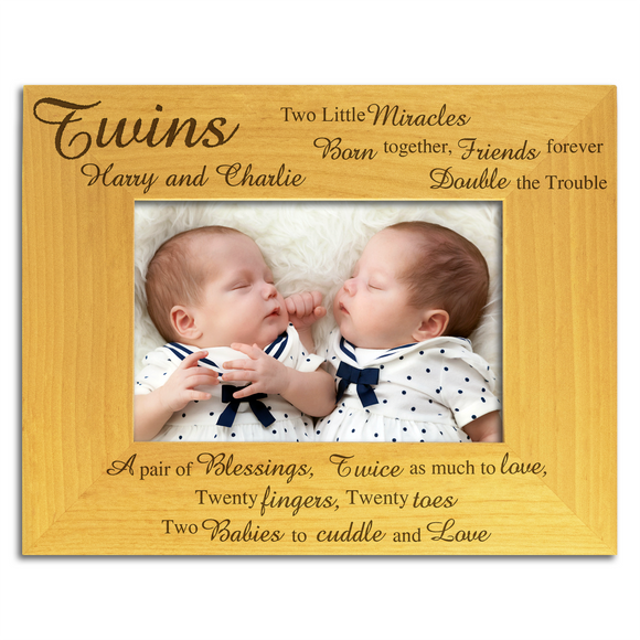 Twins, Two Little Miracles - Personalised Wood Photo Frame - engraving-gallery.com