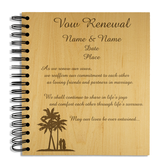 Vow Renewal, Abroad- Personalised Wood Album - engraving-gallery.com
