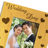 Wedding Day Hearts - Personalised Wood Photo Frame - engraving-gallery.com