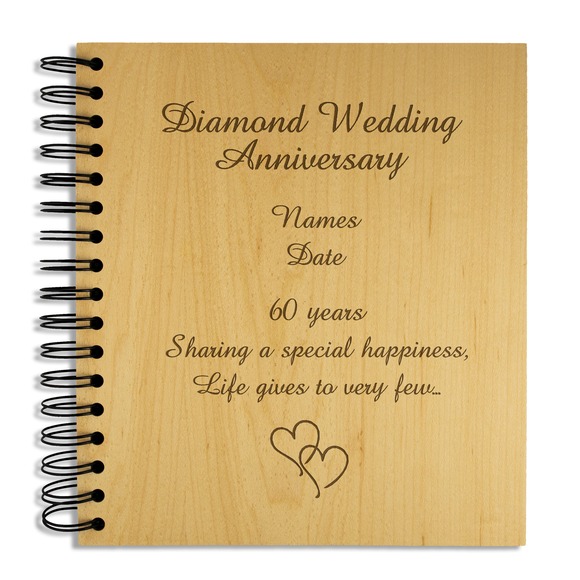60th Diamond Wedding Anniversary - Personalised Wood Album - engraving-gallery.com