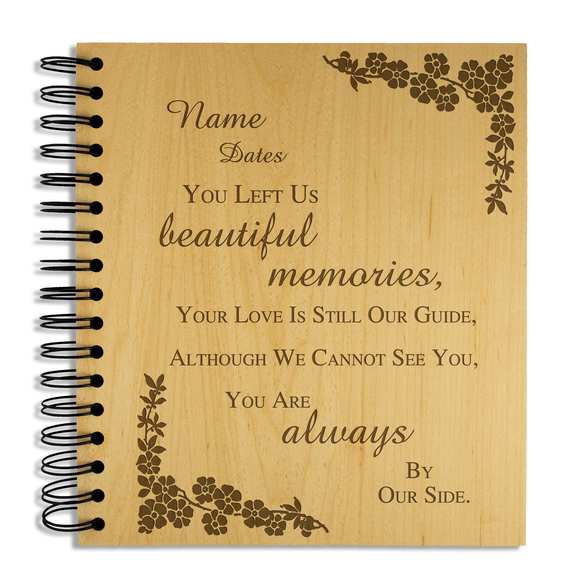 Beautiful Memories, Bereavement - Personalised Wood Album - engraving-gallery.com