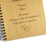 40th Ruby Wedding Anniversary - Personalised Wood Album - engraving-gallery.com