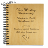 25th Silver Wedding Anniversary - Personalised Wood Album - engraving-gallery.com