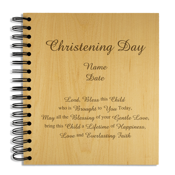 Christening Day - Personalised Wood Album - engraving-gallery.com