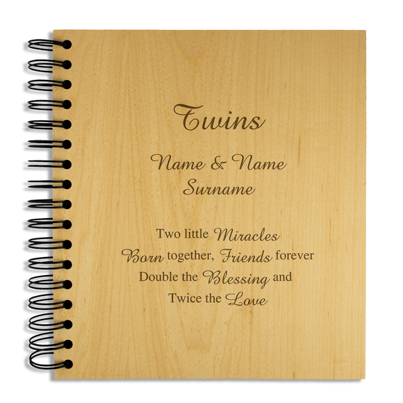 Twins - Personalised Wood Album - engraving-gallery.com
