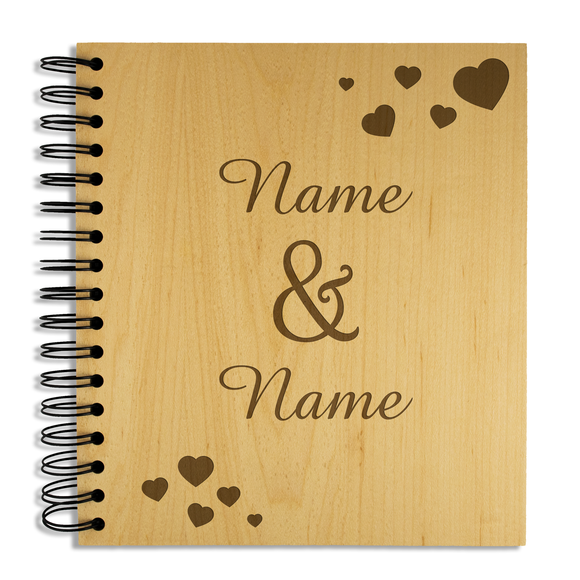 You & Me, Hearts - Personalised Wood Album - engraving-gallery.com