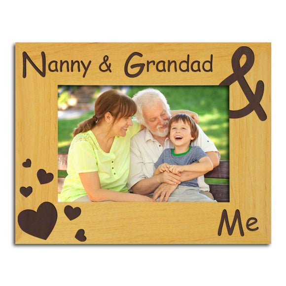 Nanny & Grandad & Me - Engraved Wood Photo Frame - engraving-gallery.com