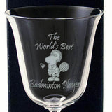 Worlds Best Badminton Player - Engraved 24% Crystal Wine Glass - engraving-gallery.com