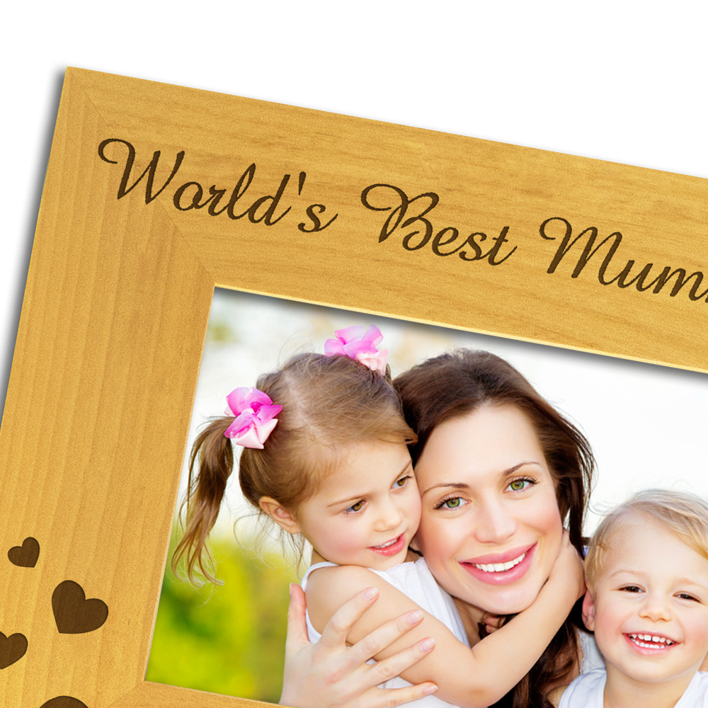World's Best Mummy - Engraved Wood Photo Frame