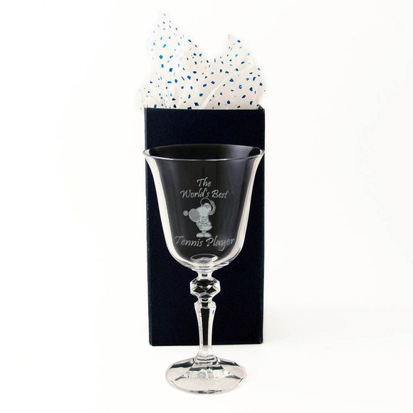 The World's Best Tennis Player - Engraved 24% Crystal Wine Glass - engraving-gallery.com