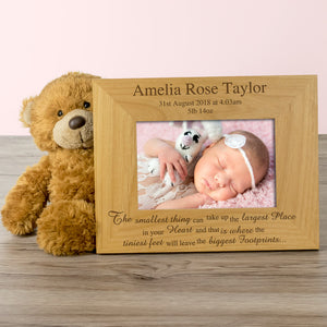 Baby Girl, Personalised Wood Photo Frame - engraving-gallery.com