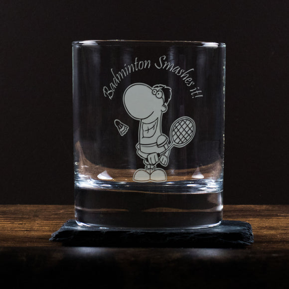 Badminton Smashes It! - Engraved Whisky Tumbler Glass - engraving-gallery.com