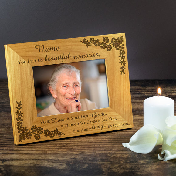 Beautiful Memories, Bereavement - Personalised Wood Photo Frame - engraving-gallery.com
