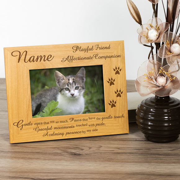 Cat, Personalised Wood Photo Frame - engraving-gallery.com