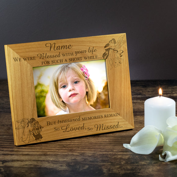 Child Baby Bereavement - Personalised Wood Photo Frame - Engraving-Gallery.com