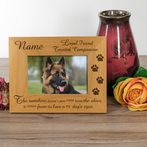 Dog, Loyal Friend, Trusted Companion - Personalised Wood Photo Frame Landscape View - engraving-gallery.com
