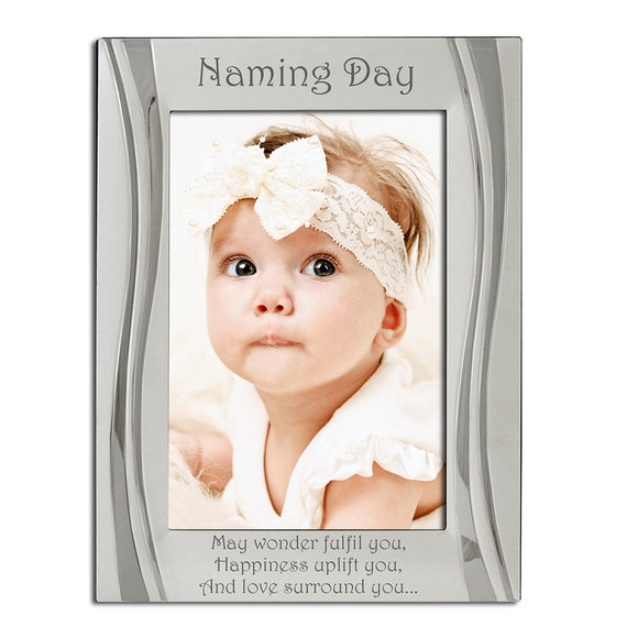 Naming Day - Silver Plated, Silver Photo Frame - engraving-gallery.com