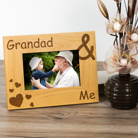 Grandad and Me - Engraved Wood Photo Frame - engraving-gallery.com