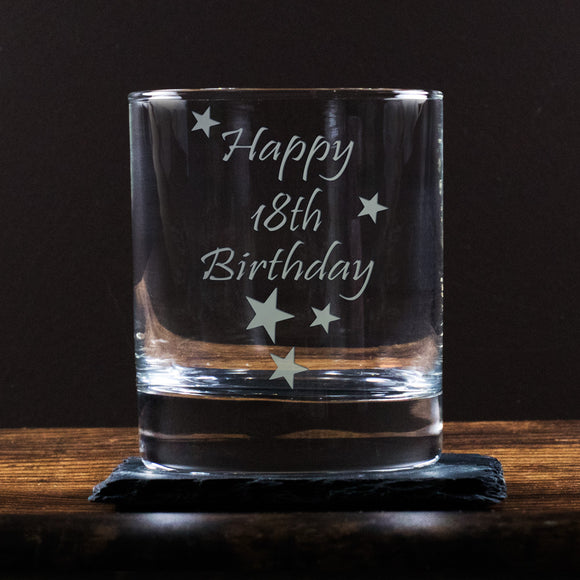 Happy 18th Birthday - Engraved Whisky Tumbler Glass