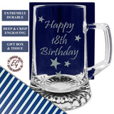 18th - Happy 18th Birthday - Engraved Tankard Beer Pint Glass